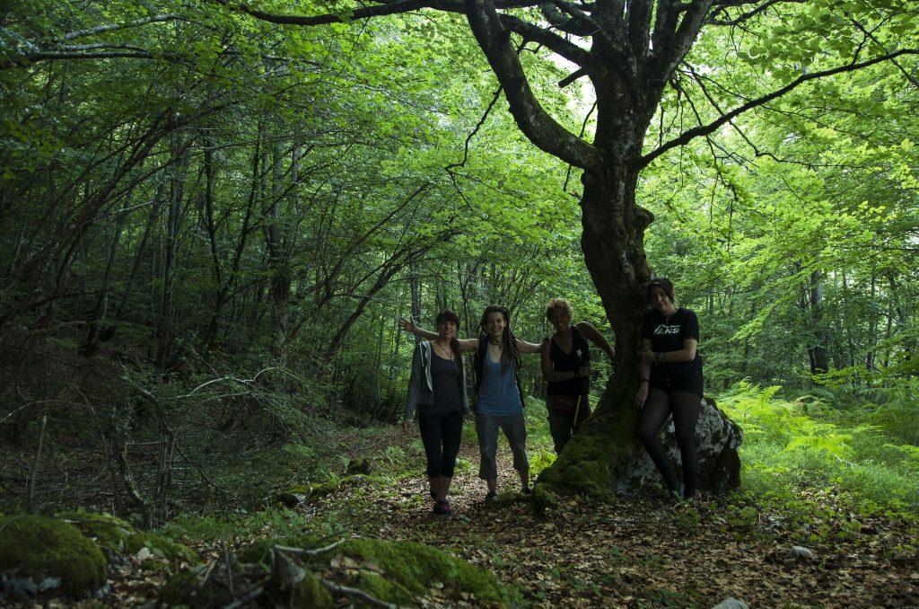 Tania, Diana, Magarita y Sandra en el Hayedo